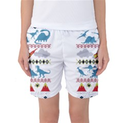 My Grandma Likes Dinosaurs Ugly Holiday Christmas Women s Basketball Shorts