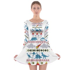 My Grandma Likes Dinosaurs Ugly Holiday Christmas Long Sleeve Skater Dress