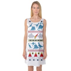My Grandma Likes Dinosaurs Ugly Holiday Christmas Sleeveless Satin Nightdress