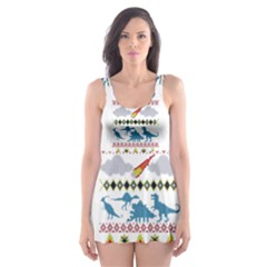 My Grandma Likes Dinosaurs Ugly Holiday Christmas Skater Dress Swimsuit