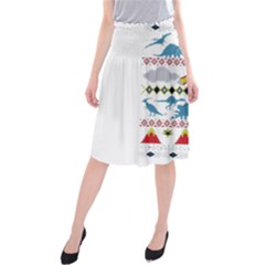 My Grandma Likes Dinosaurs Ugly Holiday Christmas Midi Beach Skirt
