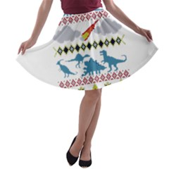 My Grandma Likes Dinosaurs Ugly Holiday Christmas A-line Skater Skirt