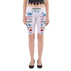 My Grandma Likes Dinosaurs Ugly Holiday Christmas Yoga Cropped Leggings