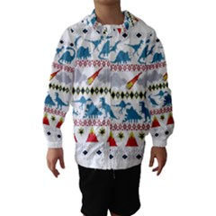 My Grandma Likes Dinosaurs Ugly Holiday Christmas Hooded Wind Breaker (Kids)