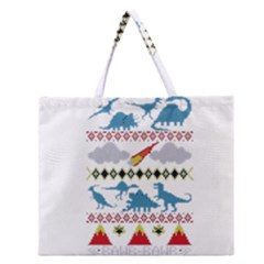 My Grandma Likes Dinosaurs Ugly Holiday Christmas Zipper Large Tote Bag