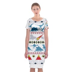 My Grandma Likes Dinosaurs Ugly Holiday Christmas Classic Short Sleeve Midi Dress