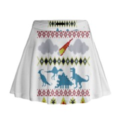 My Grandma Likes Dinosaurs Ugly Holiday Christmas Mini Flare Skirt