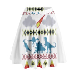 My Grandma Likes Dinosaurs Ugly Holiday Christmas High Waist Skirt