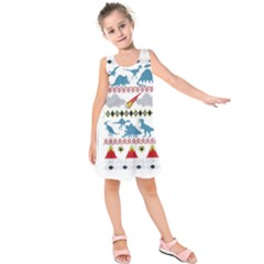 My Grandma Likes Dinosaurs Ugly Holiday Christmas Kids  Sleeveless Dress
