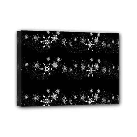 Black elegant  Xmas design Mini Canvas 7  x 5