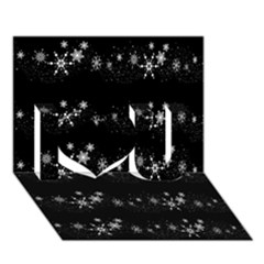 Black elegant  Xmas design I Love You 3D Greeting Card (7x5)
