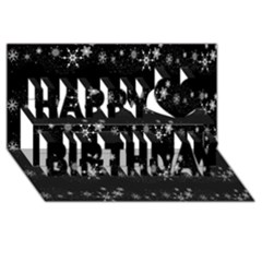 Black elegant  Xmas design Happy Birthday 3D Greeting Card (8x4)