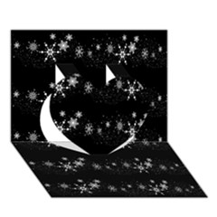 Black elegant  Xmas design Heart 3D Greeting Card (7x5)