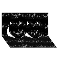 Black elegant  Xmas design Twin Hearts 3D Greeting Card (8x4)