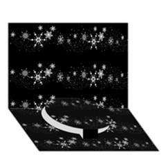 Black elegant  Xmas design Circle Bottom 3D Greeting Card (7x5)