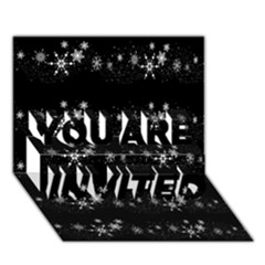 Black elegant  Xmas design YOU ARE INVITED 3D Greeting Card (7x5)