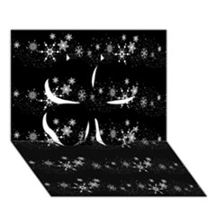 Black elegant  Xmas design Clover 3D Greeting Card (7x5)