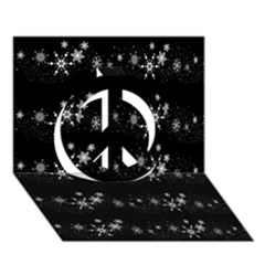 Black elegant  Xmas design Peace Sign 3D Greeting Card (7x5)