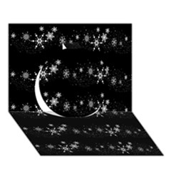 Black elegant  Xmas design Circle 3D Greeting Card (7x5)