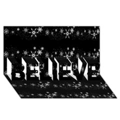 Black elegant  Xmas design BELIEVE 3D Greeting Card (8x4)