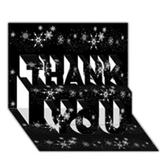 Black elegant  Xmas design THANK YOU 3D Greeting Card (7x5)