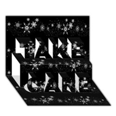 Black elegant  Xmas design TAKE CARE 3D Greeting Card (7x5)