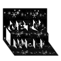 Black elegant  Xmas design Get Well 3D Greeting Card (7x5)