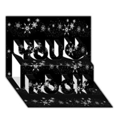 Black elegant  Xmas design You Rock 3D Greeting Card (7x5)