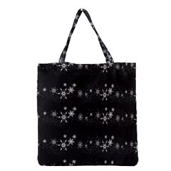 Black elegant  Xmas design Grocery Tote Bag