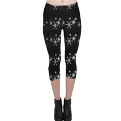 Black elegant  Xmas design Capri Leggings