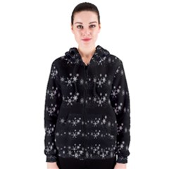 Black elegant  Xmas design Women s Zipper Hoodie