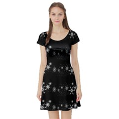 Black elegant  Xmas design Short Sleeve Skater Dress