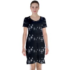 Black elegant  Xmas design Short Sleeve Nightdress