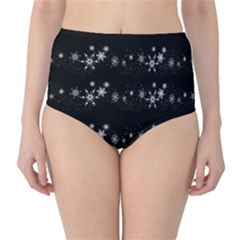 Black elegant  Xmas design High-Waist Bikini Bottoms