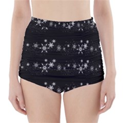 Black elegant  Xmas design High-Waisted Bikini Bottoms