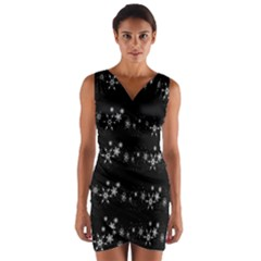 Black elegant  Xmas design Wrap Front Bodycon Dress