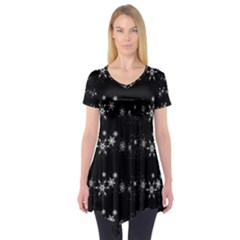 Black elegant  Xmas design Short Sleeve Tunic