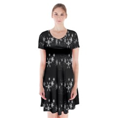 Black elegant  Xmas design Short Sleeve V-neck Flare Dress