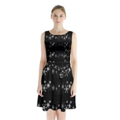 Black elegant  Xmas design Sleeveless Chiffon Waist Tie Dress