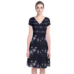 Black elegant  Xmas design Short Sleeve Front Wrap Dress