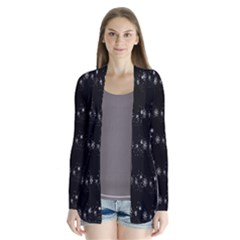 Black elegant  Xmas design Drape Collar Cardigan
