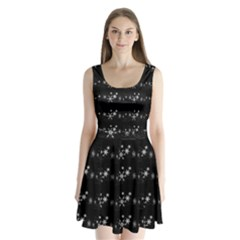 Black elegant  Xmas design Split Back Mini Dress