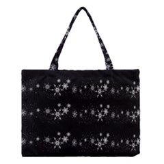 Black Elegant  Xmas Design Medium Tote Bag