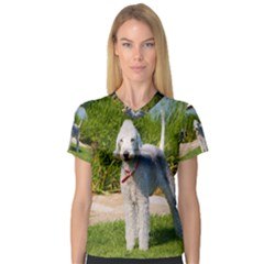 Bedlington Terrier Full Women s V-Neck Sport Mesh Tee