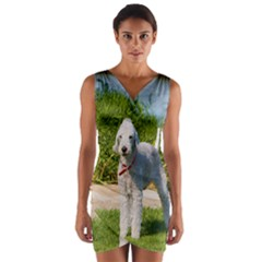 Bedlington Terrier Full Wrap Front Bodycon Dress