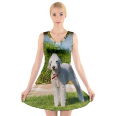 Bedlington Terrier Full V-Neck Sleeveless Skater Dress