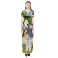 Bedlington Terrier Full Short Sleeve Maxi Dress