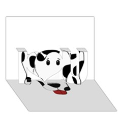 Dalmation cartoon head I Love You 3D Greeting Card (7x5)