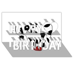 Dalmation cartoon head Happy Birthday 3D Greeting Card (8x4)