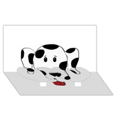 Dalmation cartoon head Twin Heart Bottom 3D Greeting Card (8x4)